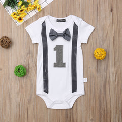 New Arrivels Baby Boy My First 1st Birthday Party Gentleman Bow Romper Jumpsuit Outfits - Your Baby's Closet