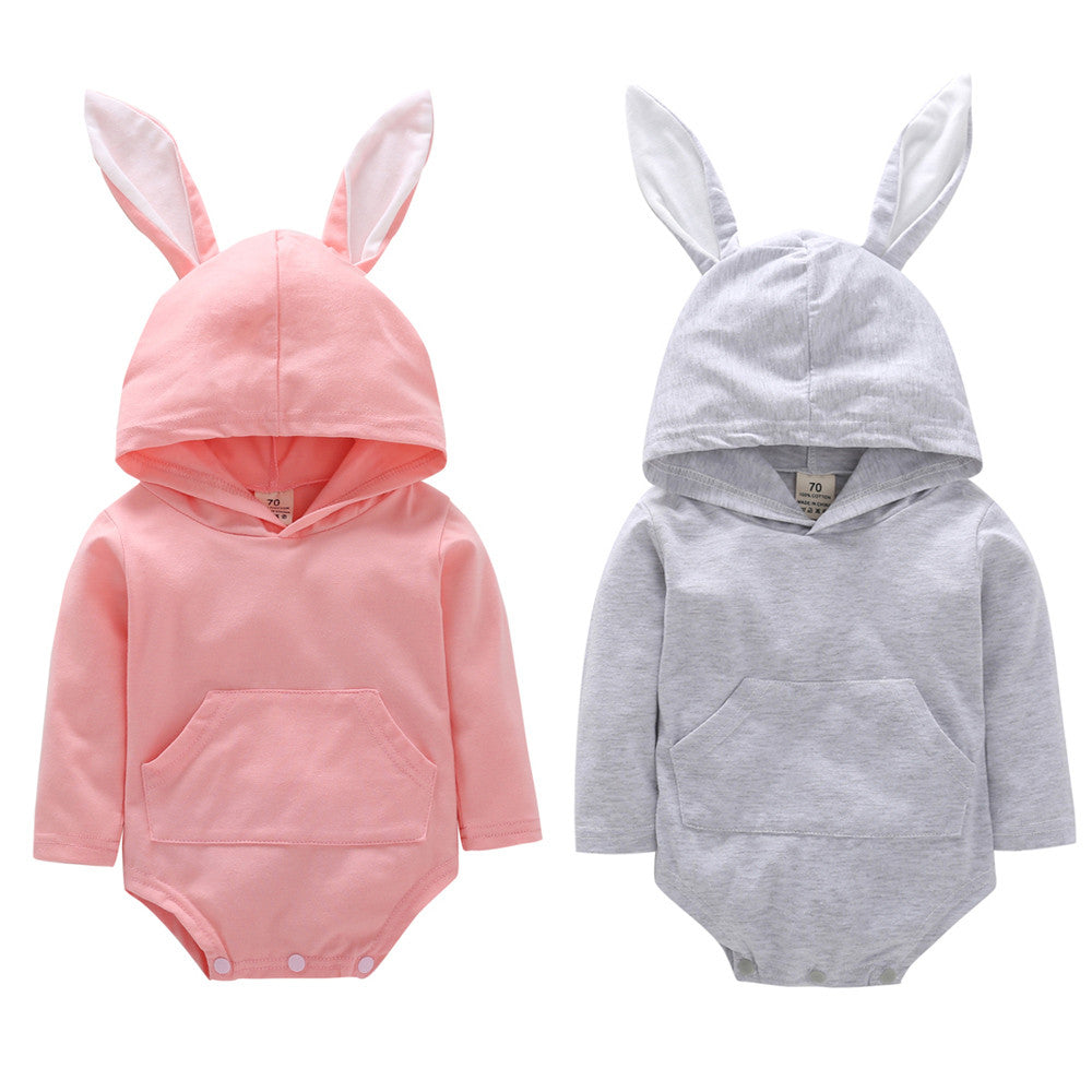 Autumn Winner Toddler Infant Baby Girls Boys Cartoon Rabbit Ear Hooded Romper Jumpsuit Outfits Drop Shipping - Your Baby's Closet