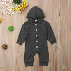 Newest Cute Baby Kids Boys Girls Infant Hooded Rompers Active Cotton Button Jumpsuits Kids Autumn Clothes 0-24M - Your Baby's Closet