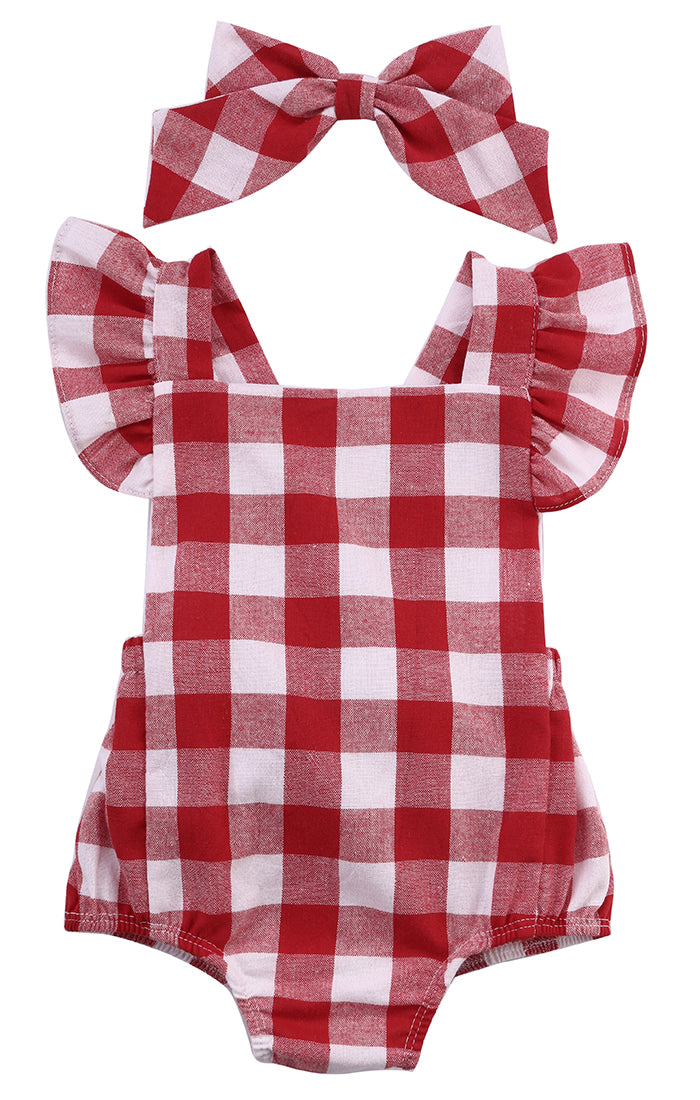 Red Plaid Romper Set - Your Baby's Closet