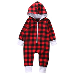 Red Plaid Hooded Jumpsuit - Your Baby's Closet