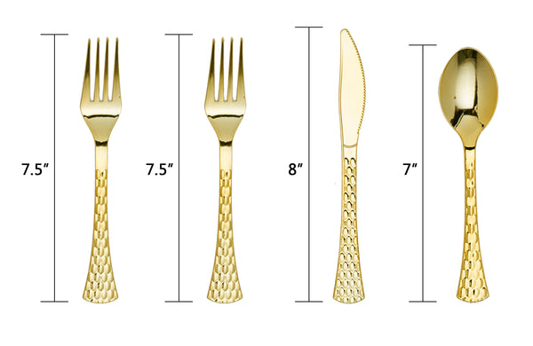 Plastic Hammered Flatware - Gold 20 pack - Royalty Settings