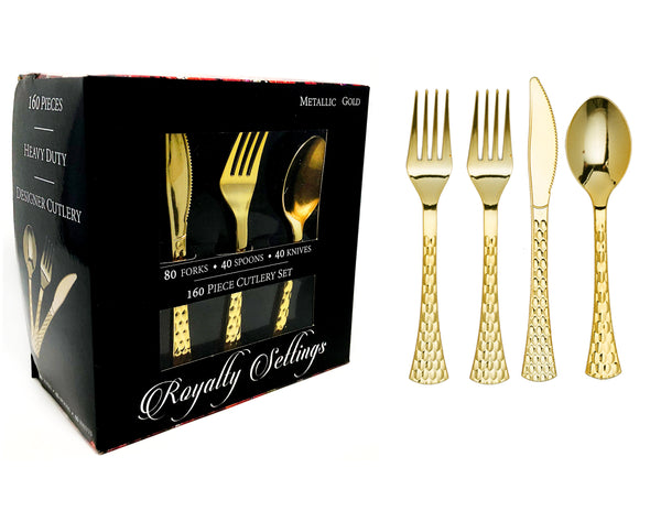 Hammered Cutlery Box Set Service for 40 people - Gold - Royalty Settings