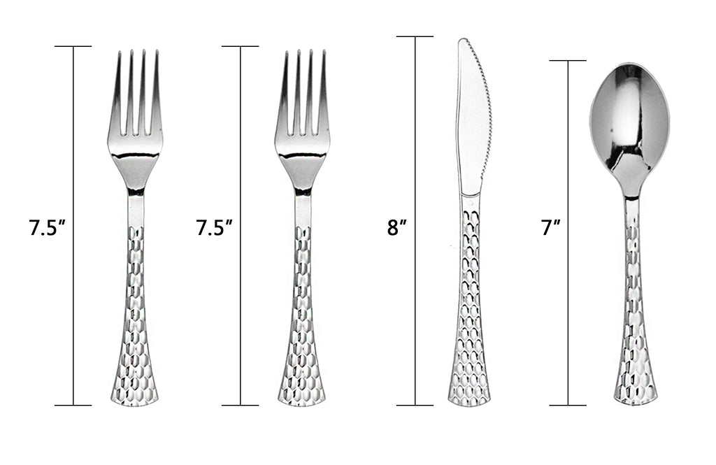 Plastic Hammered Flatware - Silver 20 pack - Royalty Settings