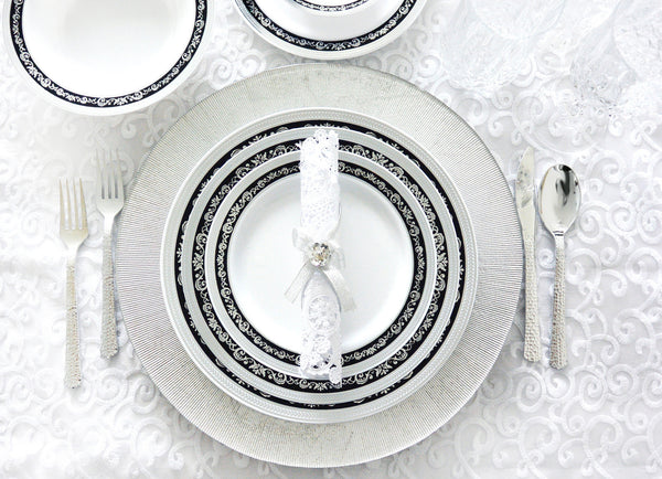 Royal Collection Black/Silver Party Package with Lunch Plate - Royalty Settings
