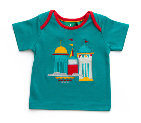 Castles in the Sky Blue Appliqué Baby Tee (6-9 Months) - Babycoo - 1