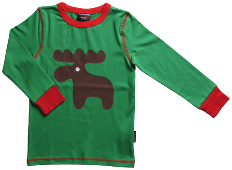 Maxomorra Long Sleeve Moose Print Top (13-24 Months) - Babycoo