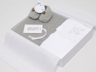 Aeroplane baby gift box with merino wool shoes