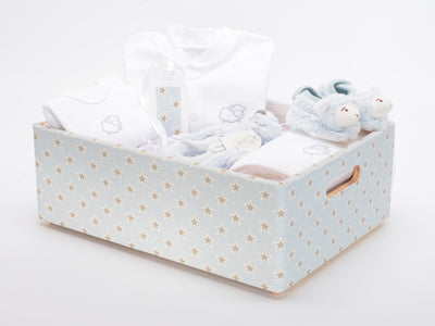 Baby boy wooden star hamper