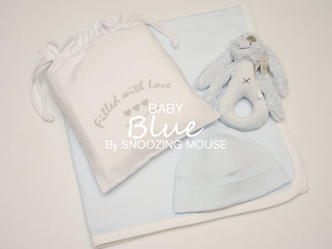 Baby Blue Hat & Blanket Set with Rabbit Rattle