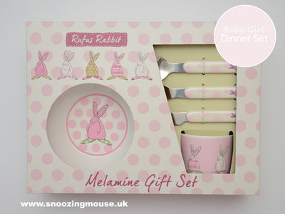 Rufus Rabbit Baby Girl Melamine Dinner Set