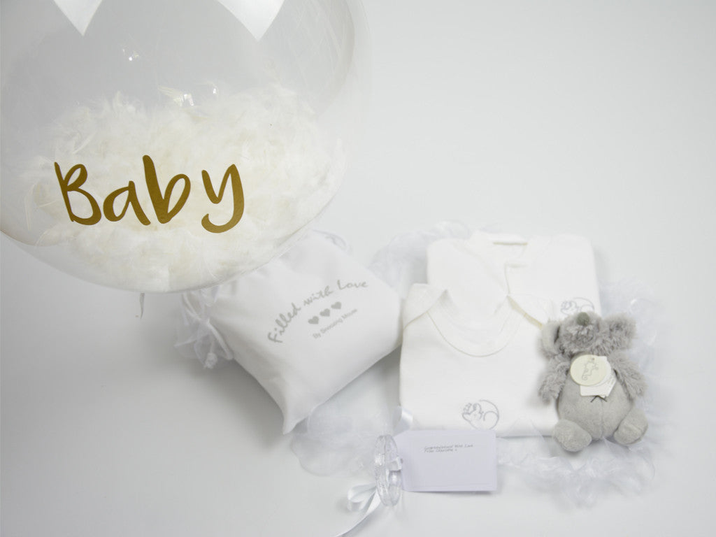 Personalised Balloon and baby clothes gift