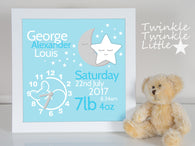 Baby Boy Birth Details Frame