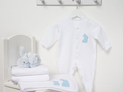 Baby boy applique bunny set with bunny slippers