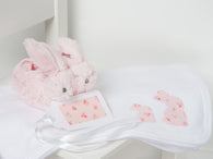 Pink baby bunny blanket and slippers