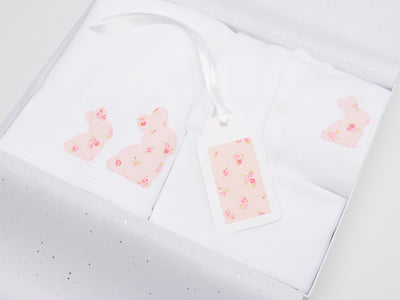 Pink and white baby bunny gift set