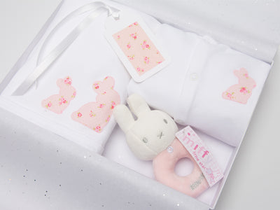 Baby girl bunny gift set with miffy bunny rattle