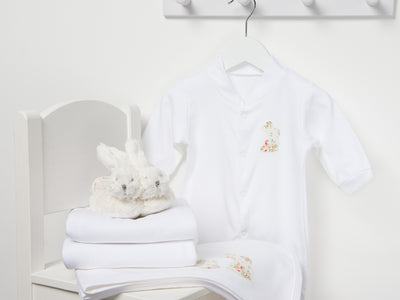 Cream applique baby bunny gift set