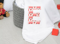 Personalised London bus baby blanket