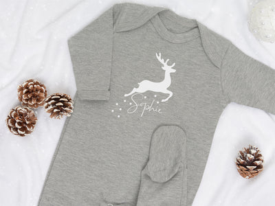 Personalised Reindeer Sleepsuit with Cotton Gift Bag