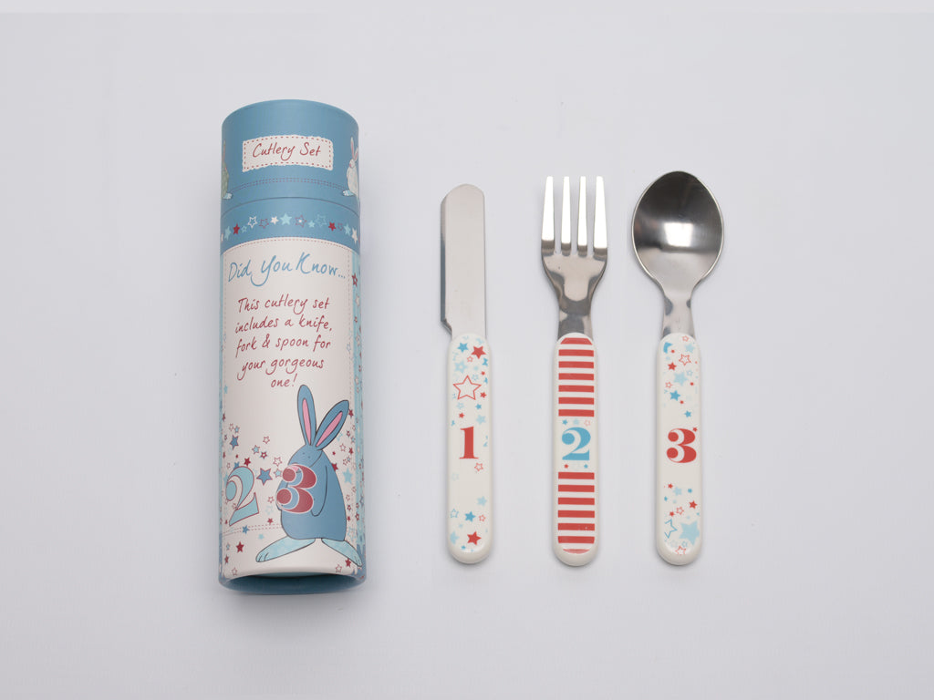 Rufus Rabbit Baby Boy Cutlery Set