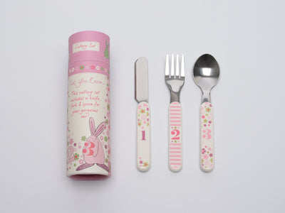 Rufus Rabbit Baby Girl Cutlery Set