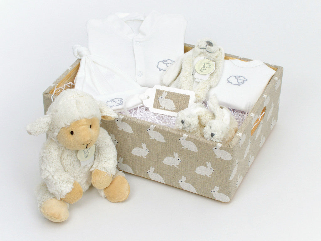 Rabbit Baby Hamper (Unisex) with Large Cuddly Lamb