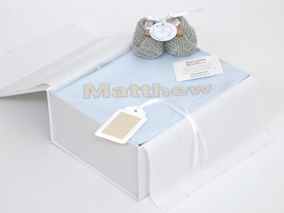 Personalised baby boy hamper box
