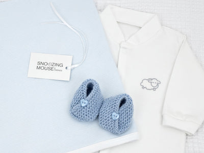 Baby Boy Gift Set with Merino Wool Baby Shoes