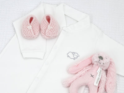 Baby Girl Gift Set with Soft Pale Pink Shoes