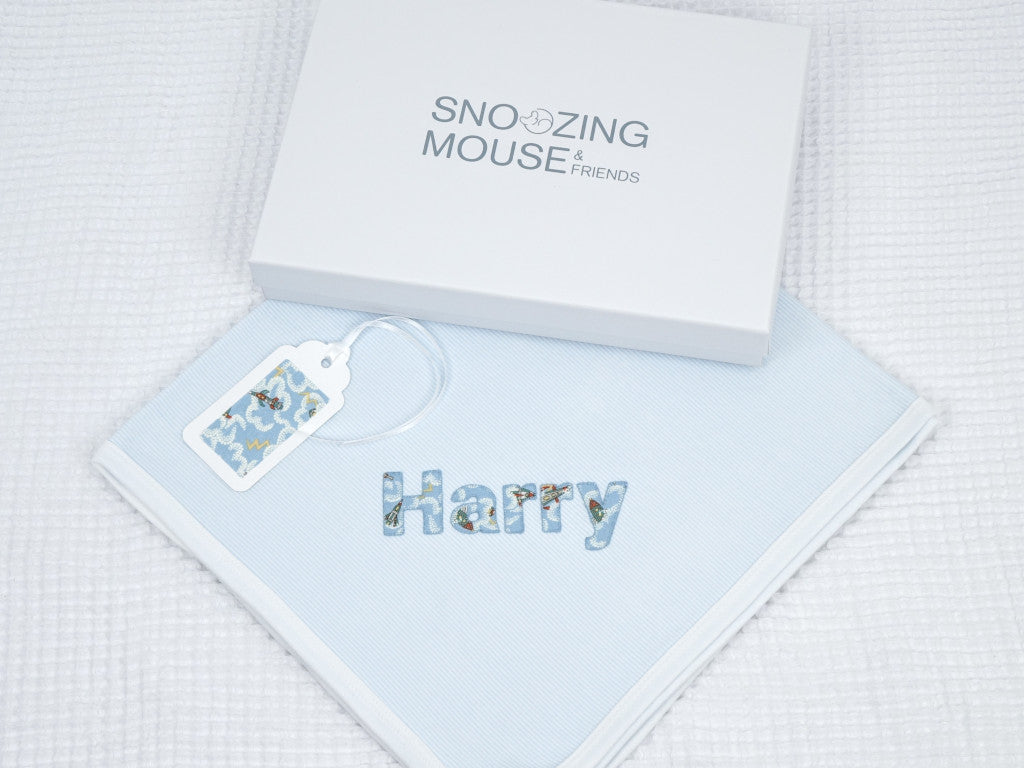 Liberty Print Personalised Baby Boy Blanket Blue
