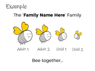 Personalised Family Bee Print with Frame