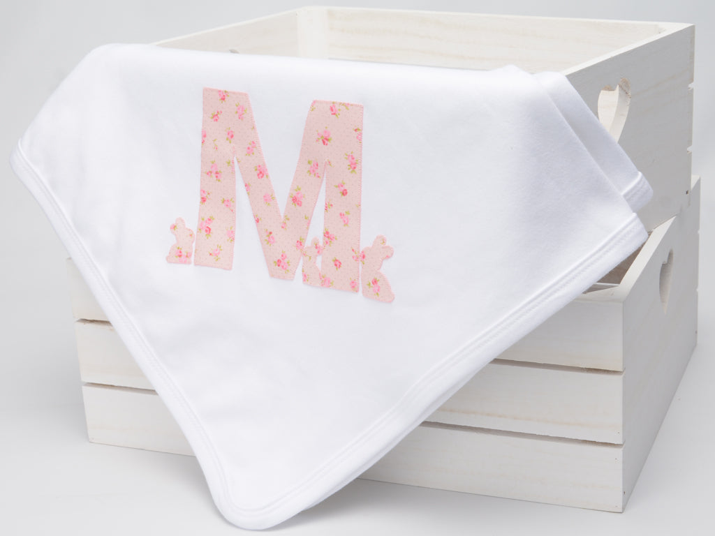 Personalised Baby Girl Bunny Blanket