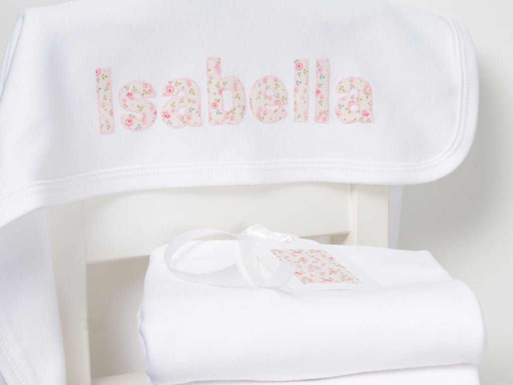 White Personalised Baby Blanket