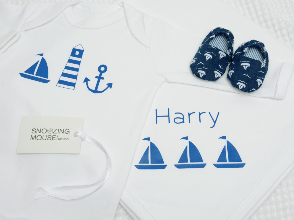 Nautical Baby Gift Set with Blue Boat Shoes