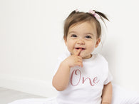 Baby Girl First Birthday T-shirt Rose Gold Glitter