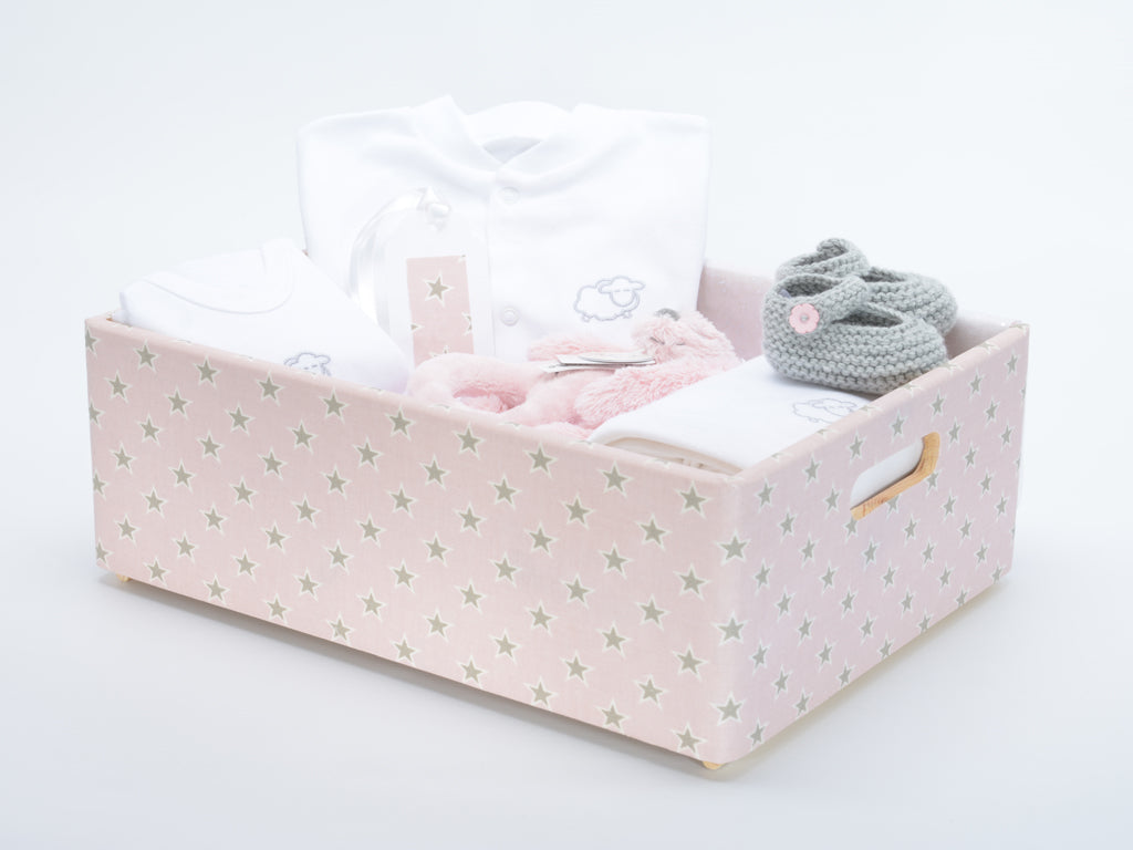 Baby girl wooden star hamper