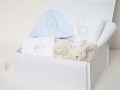 Baby Boy Hamper Box with Bunny Slippers