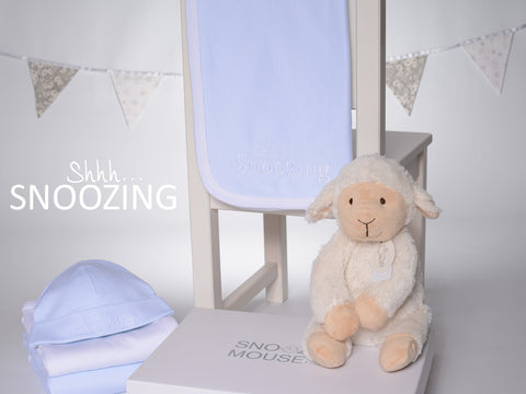 Shhh. . . Snoozing - Baby Blue Hat & Blanket Set