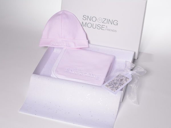 Shhh. . . Snoozing - Pretty In Pink Hat & Blanket Set
