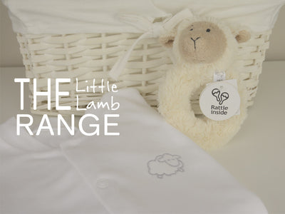 Soft cotton little lamb baby sleepsuit with lamb rattle