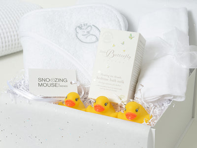 Baby Bath Time Hamper Box with Organic Bath Milk