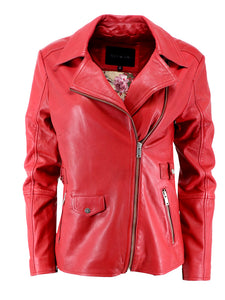 Women's Red Leather Jacket | Sly & Co