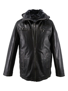 Black leather jacket with hood | VITALI | Sly & Co