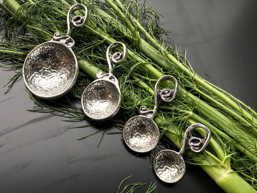 Handcrafted Pewter Measuring Spoons and Measuring Cups
