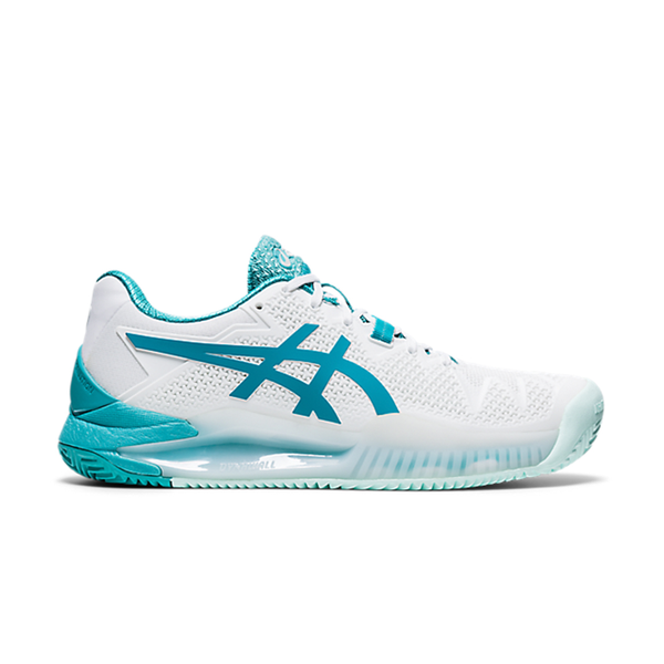 Asics Gel Resolution 8 Clay (Women's) - White/Lagoon