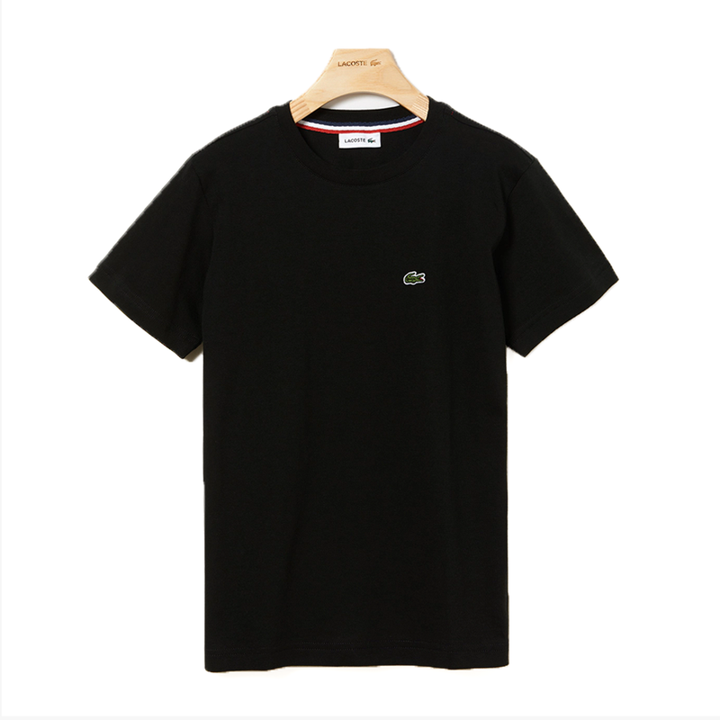 Lacoste Crew Neck Cotton T-shirt (Boy's) - Black-Tops-online tennis store canada