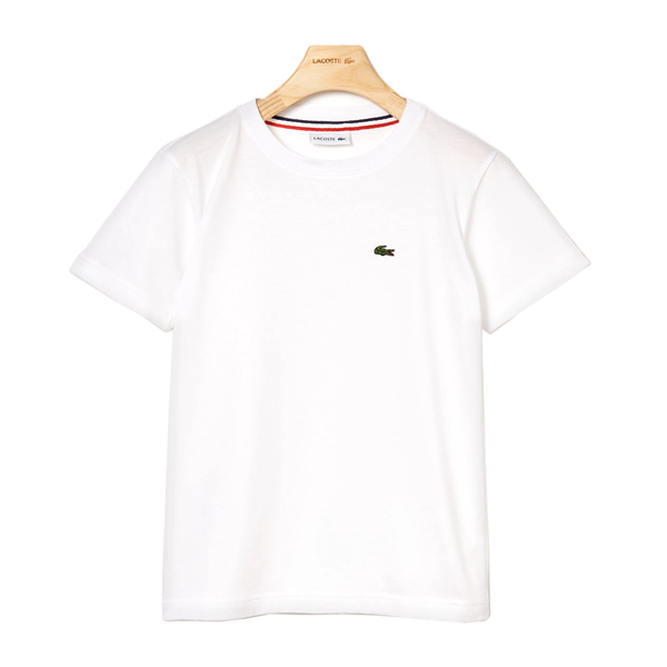 Lacoste Crew Neck Cotton T-shirt (Boy's) - White-Tops-online tennis store canada