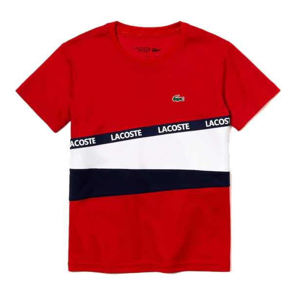Lacoste SPORT Color-Block Piqué T-shirt (Boy's) - Red/White/Navy Blue-Tops- Canada Online Tennis Store Shop