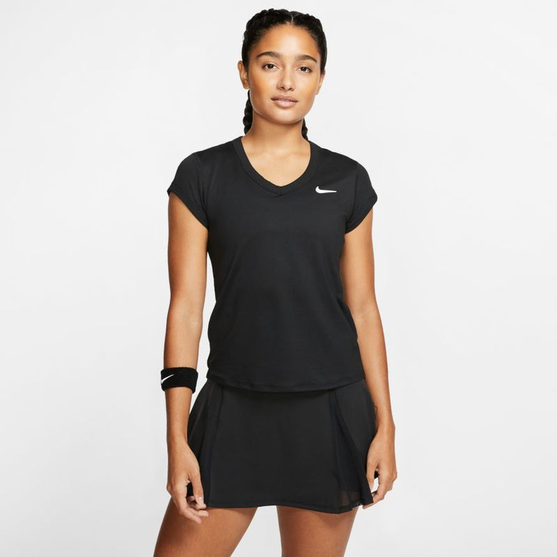 Nike Court Dri-FIT Short-Sleeve Tennis Top (Women's) - Black